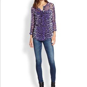 Equipment Lynn Silk Chiffon Blouse. Purple Leopard